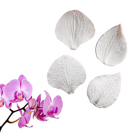 cheap Decorating Tools-Phalaenopsis Hydrangea Leaf Double-sided Compression Mold Fondant Cake Silicone Mold