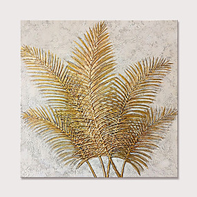 cheap Floral/Botanical Paintings-Mintura Hand Painted Abstract Golden Leaves Oil Paintings On Canvas Modern Pop Art Wall Picture For Home Decoration Ready To Hang With Stretched Frame