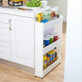 cheap Racks & Holders-High Quality Removable three-layer crevice storage rack plastics Storage shelf multi function Kitchen Storage 1 pcs