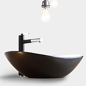 cheap Vessel Sinks-Simple Nordic Style Bathroom Vanity Basin Loft Industrial Black Matte Washbasin Ceramic Single Basin Without Faucet