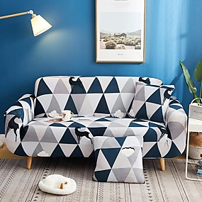 cheap Slipcovers-Geometric Triangle Print Dustproof All-powerful Slipcovers Stretch Sofa Cover Super Soft Fabric Couch Cover with One Free Pillow Case