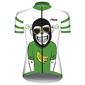 cheap Cycling & Motorcycling-21Grams Women's Short Sleeve Cycling Jersey Summer Spandex Polyester Green / Black Monkey Banana Animal Bike Jersey Top Mountain Bike MTB Road Bike Cycling UV Resistant Quick Dry Breathable Sports