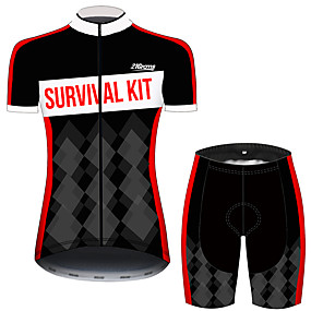 cheap Cycling & Motorcycling-21Grams Women's Short Sleeve Cycling Jersey with Shorts Summer Spandex Polyester Black / Red Plaid Checkered Novelty Bike Clothing Suit Ultraviolet Resistant Quick Dry Breathable Back Pocket Sweat