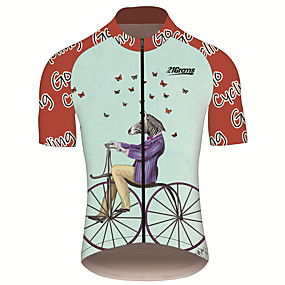 cheap Cycling & Motorcycling-21Grams Men's Short Sleeve Cycling Jersey Summer Spandex Polyester Red and White Butterfly Zebra Animal Bike Jersey Top Mountain Bike MTB Road Bike Cycling UV Resistant Quick Dry Breathable Sports
