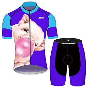 cheap Cycling & Motorcycling-21Grams Men's Short Sleeve Cycling Jersey with Shorts Summer Blue Animal Bike Clothing Suit UV Resistant Quick Dry Back Pocket Sports Patterned Mountain Bike MTB Road Bike Cycling Clothing Apparel