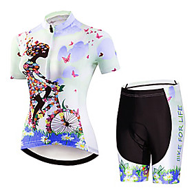 cheap Cycling & Motorcycling-21Grams Floral Botanical Women's Short Sleeve Cycling Jersey with Shorts - Blue Purple Yellow Bike Clothing Suit Anatomic Design Quick Dry Moisture Wicking Sports Summer Elastane Terylene Mountain