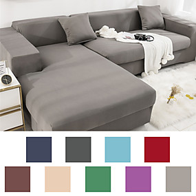 cheap Living Room-Sofa Cover Couch Cover Furniture Protector Solid Color Soft Stretch Sofa Slipcover Super Strechable Cover Fit for Armchair/ Loveseat/ Three Seater/ Four Seater/ L Shape Sofa Easy to Install & Care  (F
