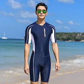 cheap Men-Men's Rash Guard Dive Skin Suit Elastane Swimwear Bodysuit UV Sun Protection Quick Dry High Elasticity Half Sleeve Front Zip - Swimming Diving Surfing Snorkeling Patchwork Autumn / Fall Spring Summer