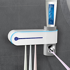 cheap Bathroom Gadgets-Tools Safety Toothbrush sterilizer and Holder with LED UV Light Sterilization Function,Wall Mounted Automatic Toothpaste Dispenser Toothbrush & Accessories