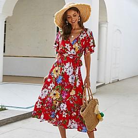 Χαμηλού Κόστους Women's Dresses-Γυναικεία Φόρεμα με δέσιμο στα πλάγια Μίντι φόρεμα - Κοντομάνικο Φλοράλ Στάμπα Καλοκαίρι Λαιμόκοψη V Αργίες Μαύρο Ρουμπίνι Κίτρινο Τ M L XL