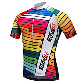 cheap Cycling & Motorcycling-21Grams Men's Short Sleeve Cycling Jersey Summer Spandex Polyester Red / White Rainbow Gradient Novelty Bike Jersey Top Mountain Bike MTB Road Bike Cycling UV Resistant Quick Dry Breathable Sports
