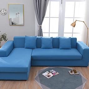cheap Slipcovers-Simple Solid Color Elastic Sofa Cover Full Package Single Double Three Person Sofa Cover Multi Color