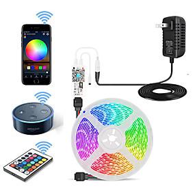cheap WiFi Control-5m Flexible LED Strip Lights Light Sets RGB Tiktok Lights 150 LEDs SMD5050 10mm 1 24Keys Remote Controller 1 X 12V 3A Power Supply 1 set Multi Color Waterproof Cuttable Decorative 12 V