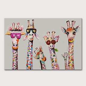 cheap Animal Paintings-Oil Painting Paint Handmade Abstract Giraffe Animals Pop Art Wall Pictures For Home Decoration No Framed Rolled Without Frame