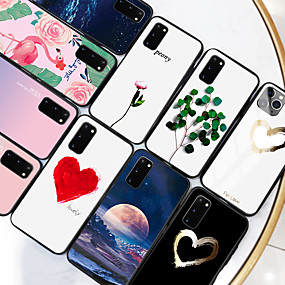 cheap Samsung Case-Samsung scene map Samsung Galaxy S20 S20 Plus S20 Ultra colorful Love Painted pattern tempered glass back plate TPU frame 2-in-1 anti-drop mobile phone case JMGD