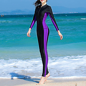 cheap Surfing, Swimming & Diving-Women's Rash Guard Dive Skin Suit Bodysuit UV Sun Protection Quick Dry Full Body Front Zip - Swimming Diving Surfing Snorkeling Patchwork Autumn / Fall Spring Summer
