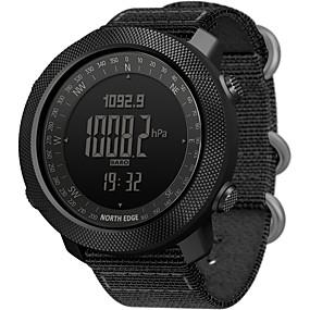 זול שעונים חכמים-NORTH EDGE בגדי ריקוד גברים שעונים צבאיים דיגיטלי סגנון מודרני ספורטיבי יום יומי עמיד במים אנלוגי-דיגיטלי שחור פול אודם / שנה אחת / מתכת אל חלד / ניילון / Japanese / מד גובה