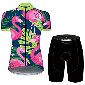 cheap Cycling & Motorcycling-21Grams Women's Short Sleeve Cycling Jersey with Shorts Summer Spandex Polyester Pink+Green Flamingo Floral Botanical Animal Bike Clothing Suit 3D Pad Ultraviolet Resistant Quick Dry Breathable Back