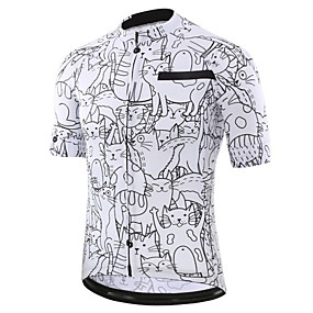 cheap Cycling & Motorcycling-21Grams Men's Short Sleeve Cycling Jersey Summer Spandex Polyester Black+White Cat Graffiti Animal Bike Jersey Top Mountain Bike MTB Road Bike Cycling UV Resistant Quick Dry Breathable Sports
