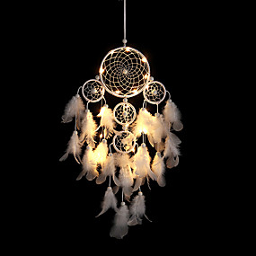 cheap Dreamcatcher-Newly Big Dreamcatcher Wind Chime White Feather Dream Catcher Car Hanging Decoration 5 Circular Home Decor Gift