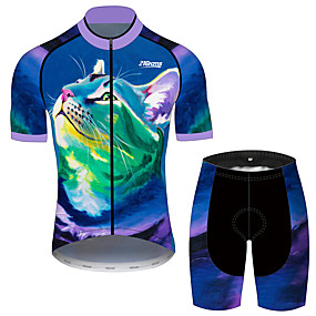 cheap Cycling & Motorcycling-21Grams Men's Short Sleeve Cycling Jersey with Shorts Summer Dark Blue Animal Bike Clothing Suit UV Resistant Quick Dry Back Pocket Sports Patterned Mountain Bike MTB Road Bike Cycling Clothing