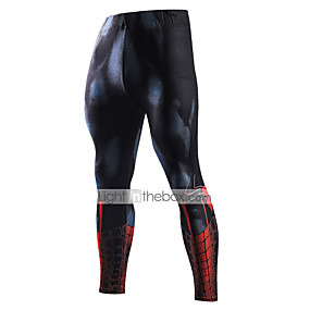 cheap Running & Jogging-Men's Running Tights Leggings Compression Pants Sports & Outdoor Underwear Base Layer Leggings Winter Fitness Gym Workout Running Jogging Moisture Wicking Breathable Soft Sport Black / Red Black
