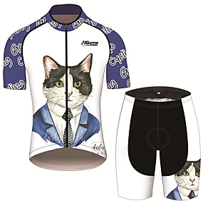 cheap Cycling & Motorcycling-21Grams Men's Short Sleeve Cycling Jersey with Shorts Summer Spandex Polyester Blue+White Cat Animal Bike Clothing Suit UV Resistant 3D Pad Quick Dry Breathable Back Pocket Sports Cat Mountain Bike