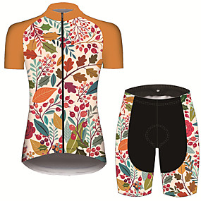 cheap Women-21Grams Women's Short Sleeve Cycling Jersey with Shorts Summer Spandex Polyester Black / Yellow Patchwork Floral Botanical Hawaii Bike Clothing Suit 3D Pad Ultraviolet Resistant Quick Dry Breathable