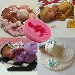 cheap Kitchen-1pcs Baby Sleeping Baby Fondant Cake Mold Jelly Silicone Baking Tool DIY