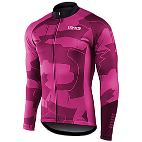cheap Cycling & Motorcycling-21Grams Men's Long Sleeve Cycling Jersey Winter Spandex Polyester Purple Yellow Red Solid Color Bike Jersey Top Mountain Bike MTB Road Bike Cycling UV Resistant Quick Dry Breathable Sports Clothing