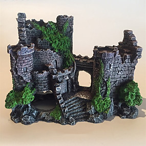 cheap Aquarium Décor & Gravel-Aquarium Medieval Resin Castle Decorations - Fish Tank Realistic Castle Decoration AccessoriesCastle Shelter for Aquarium Reptile Betta Fish