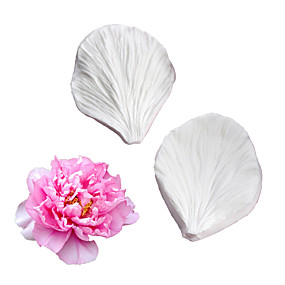 cheap Kitchen-Double-sided peony flower veiner mold Fondant cake mold Silicone mold