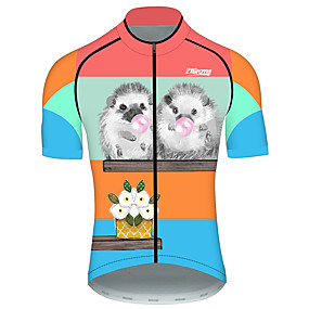 cheap Cycling & Motorcycling-21Grams Men's Short Sleeve Cycling Jersey Summer Blue+Yellow Animal Bike Jersey Top Mountain Bike MTB Road Bike Cycling UV Resistant Quick Dry Breathable Sports Clothing Apparel / Stretchy / Race Fit