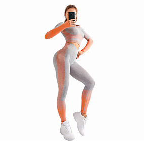 cheap Women's Activewear-Women's 2 Piece Seamless Activewear Set Workout Outfits Yoga Suit Athletic Athleisure Winter Long Sleeve High Rise Nylon Breathable Soft Push Up Fitness Gym Workout Running Jogging Sportswear Skinny
