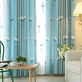 cheap Curtains & Drapes-Two Panel Children's Room Living Room Bedroom Dining Room Embroidered Curtain