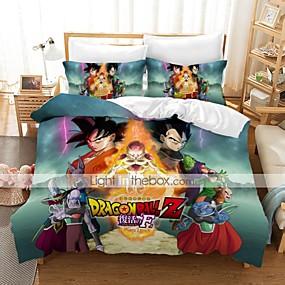 abordables Conjuntos de ropa de cama-textiles para el hogar juego de cama 3d funda nórdica con funda de almohada 2/3 piezas juegos de funda nórdica para dormitorio ropa de cama dragon ball