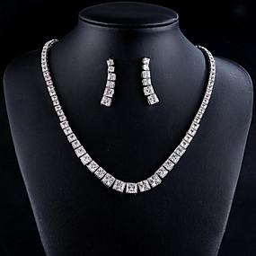 billige Skoleball-Dame Sølv Syntetisk Diamant Smykke Sett chunky Luksus Elegant øredobber Smykker Sølv Til Bryllup Fest & Aften Formell Engasjement 3pcs