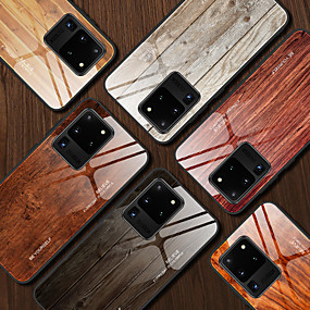 cheap Samsung Case-Case For Samsung Galaxy S9 / S9 Plus / Note 9 Shockproof / Pattern Back Cover Wood Grain / Word / Phrase TPU / Tempered Glass