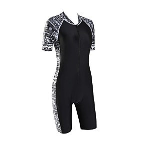 cheap Surfing, Swimming & Diving-Women's Rash Guard Dive Skin Suit Bodysuit UV Sun Protection Quick Dry Short Sleeve Front Zip - Swimming Diving Surfing Snorkeling Patchwork Autumn / Fall Spring Summer