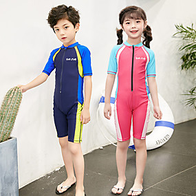 cheap Kid's-Boys' Girls' Rash Guard Dive Skin Suit Elastane Swimwear UV Sun Protection Quick Dry Breathable Short Sleeve Front Zip - Swimming Water Sports Patchwork Summer / High Elasticity / Kid's