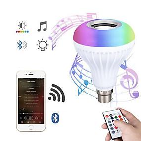 billige Globepærer med LED-Bluetooth lyspære høyttaler 12w smart led musikk spille pære e27 e26 b22 basecolorfulw Wireless rgb led lyspærer med 24 nøkler fjernkontroll for bar dekorasjon hjem ktv fest restaurant