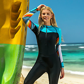 cheap Surfing, Swimming & Diving-SBART Women's Diving Rash Guard Swim Shirt UV Sun Protection Quick Dry Stretchy Long Sleeve Front Zip - Swimming Surfing Snorkeling Patchwork Autumn / Fall Spring Summer