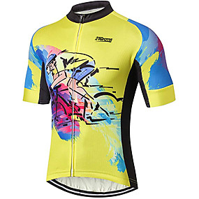 cheap Cycling & Motorcycling-21Grams Men's Short Sleeve Cycling Jersey Summer Spandex Polyester Black / Yellow Solid Color Graffiti Bike Jersey Top Mountain Bike MTB Road Bike Cycling UV Resistant Quick Dry Breathable Sports