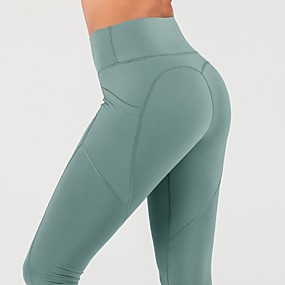 cheap Yoga & Fitness-Women's High Waist Yoga Pants Side Pockets Cropped Leggings Tummy Control Butt Lift 4 Way Stretch Heart Black Dusty Rose Pink Nylon Spandex Fitness Gym Workout Running Winter Sports Activewear High