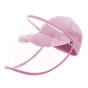cheap Personal Protection-Protection Full Face Baseball Cap Transparent Hat Helmet Isolation Respirator Spittle Safety Work Protection Face Cap Anti Dust Anti Wind Dust Adjustable Removable-Pink