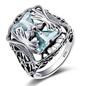 cheap Wedding & Party Jewelry-Women's Ring Gemstone 1pc Silver Platinum Plated Alloy Stylish Daily Jewelry Heart Cute