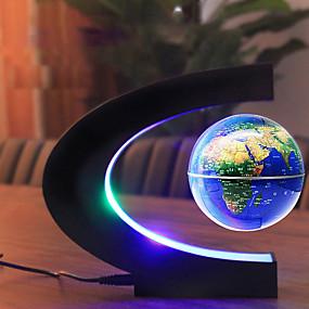 billige Smarte nyhetslys-magnetisk levitasjon flytende verdenskartklode med c-form base levitasjonsglobus med ledelys for hjemmekontor for barn 100-240v (us plug eu plug)