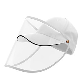 cheap Personal Protection-Protection Full Face Baseball Cap Transparent Hat Helmet Isolation Respirator Spittle Safety Work Protection Face Cap Anti Dust Anti Wind Dust Adjustable Removable-White