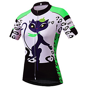 cheap Cycling & Motorcycling-21Grams Cartoon Cat Women's Short Sleeve Cycling Jersey - Blue Purple Red Bike Jersey Top Quick Dry Moisture Wicking Breathable Sports Summer Terylene Mountain Bike MTB Clothing Apparel / Athleisure
