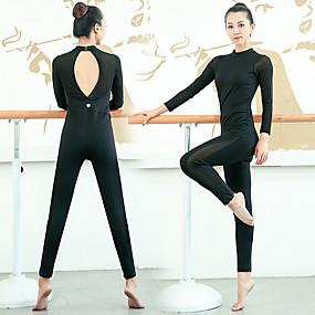 cheap Yoga & Fitness-Women's Aerial Yoga Jumpsuit Gymnastics Leotards Dancewear Breathable Black Ballet Dance Gymnastics Sports Activewear Stretchy